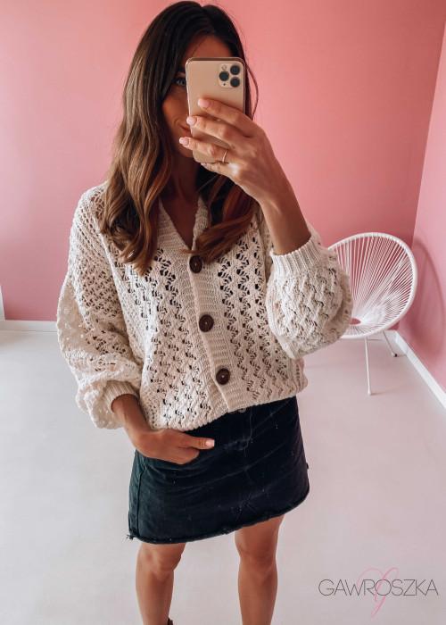 Sweter ażurowy premium - jasny beż