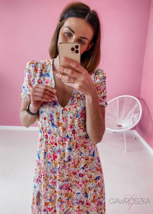 Sukienka Megi Midi Premium - pastelowe kwiaty