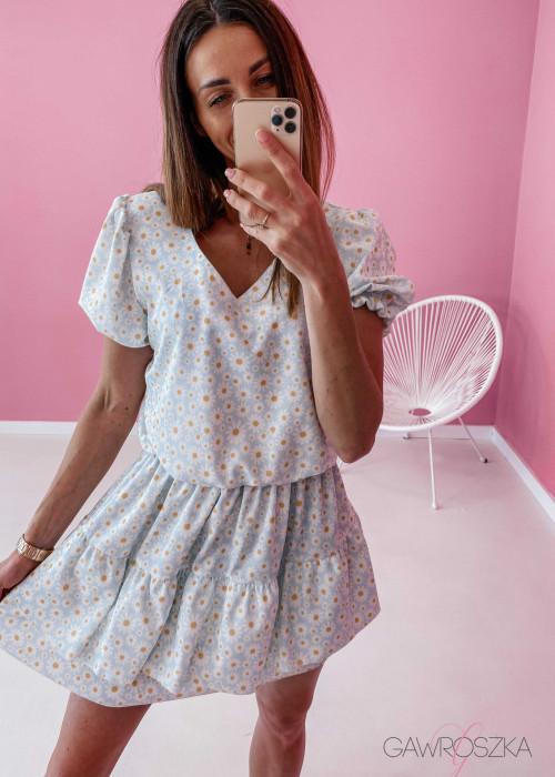 Sukienka Lea - niebieska w stokrotki