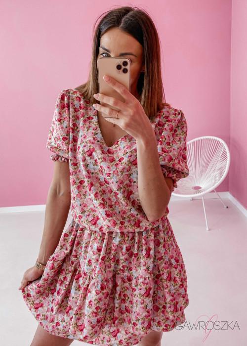 Sukienka Lea - w różowe róże