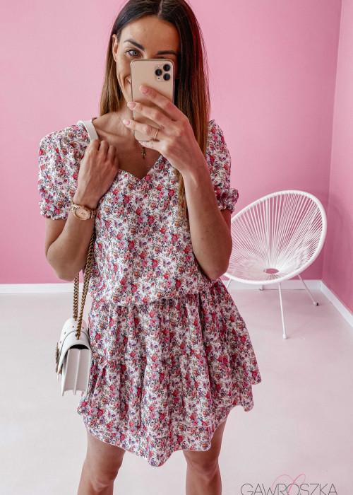 Sukienka Lea - ecru w kolorowe kwiaty