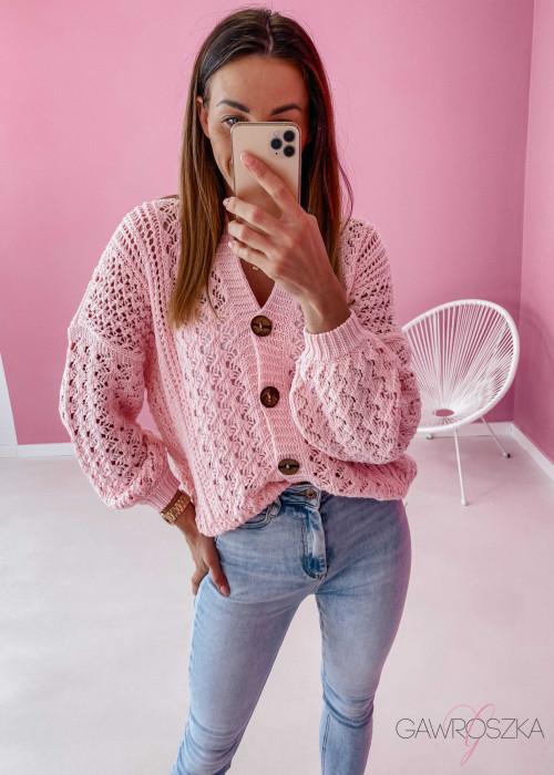 Sweter ażurowy premium - różowy