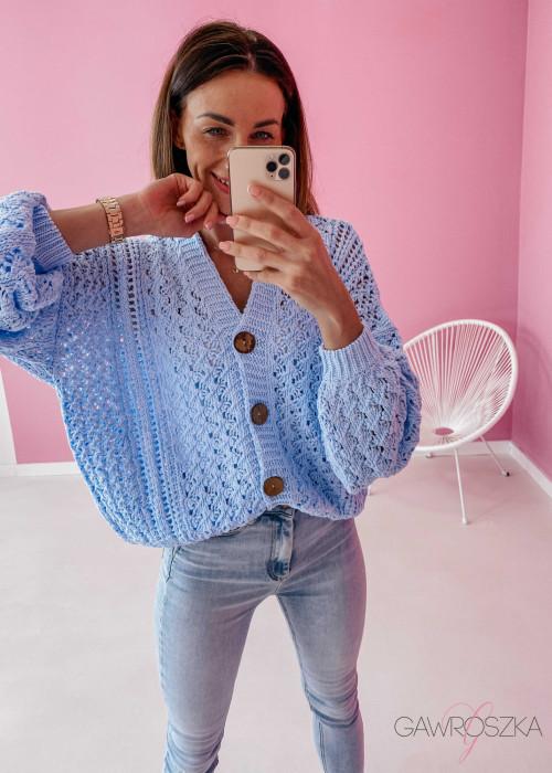 Sweter ażurowy premium - błękitny
