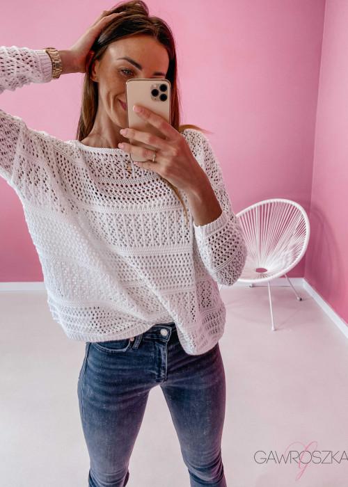 Sweter ażurowy - biały