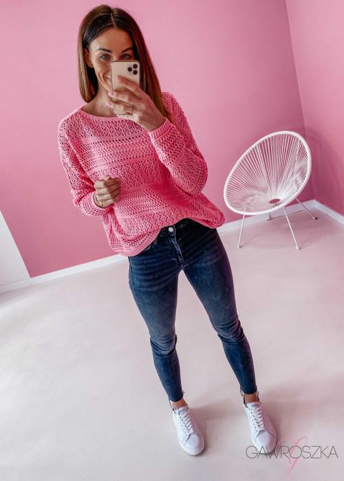 Sweter ażurowy - cukierkowy