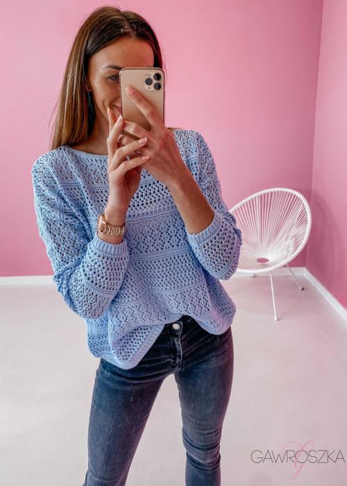 Sweter ażurowy - błękitny