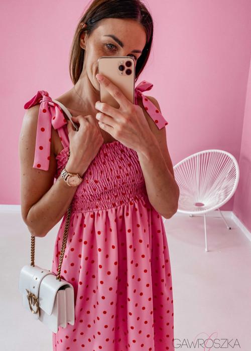 Sukienka z wiązaniem Lili - różowa w groszki