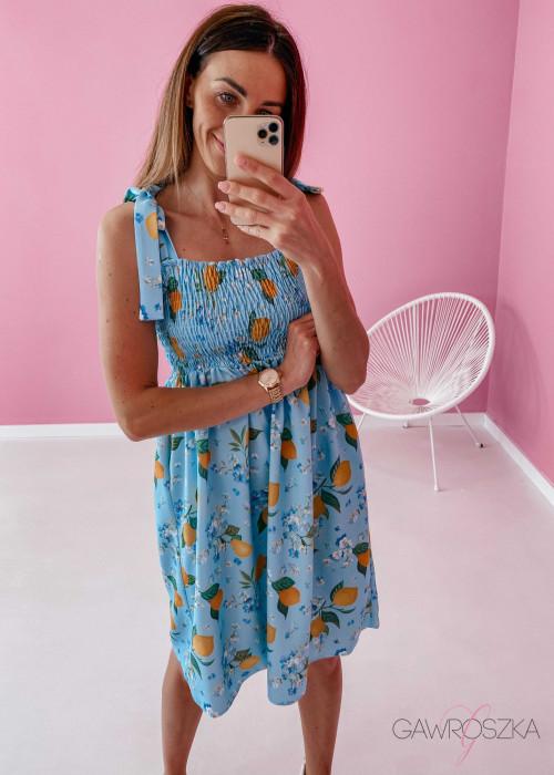 Sukienka z wiązaniem Lili - niebeska w cytrynki