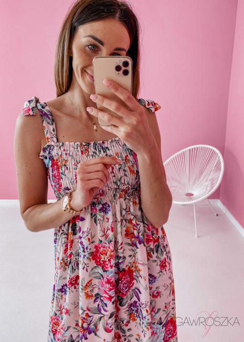 Sukienka z wiązaniem Lili - beżowa w kwiaty