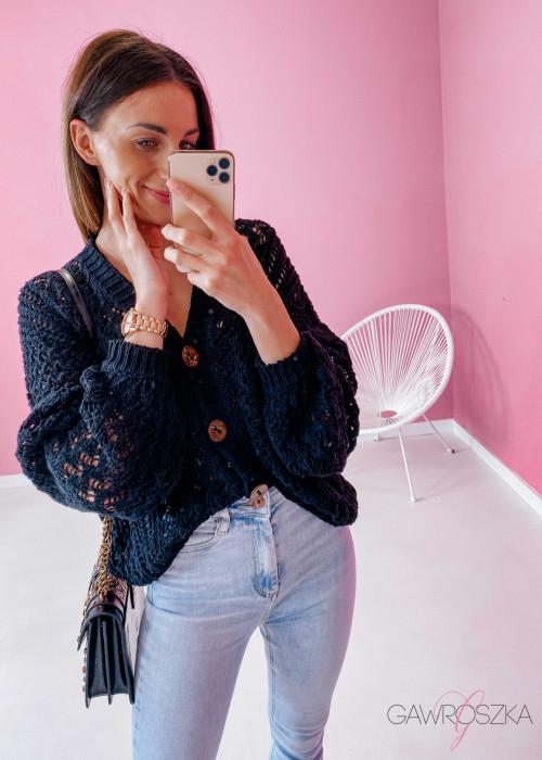 Sweter ażurowy premium - czarny