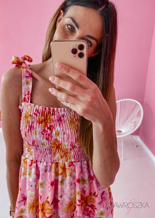 Sukienka z wiązaniem Lili - różowa w kwiaty