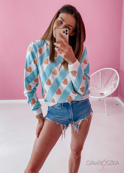 Sweter w serduszka - mięta
