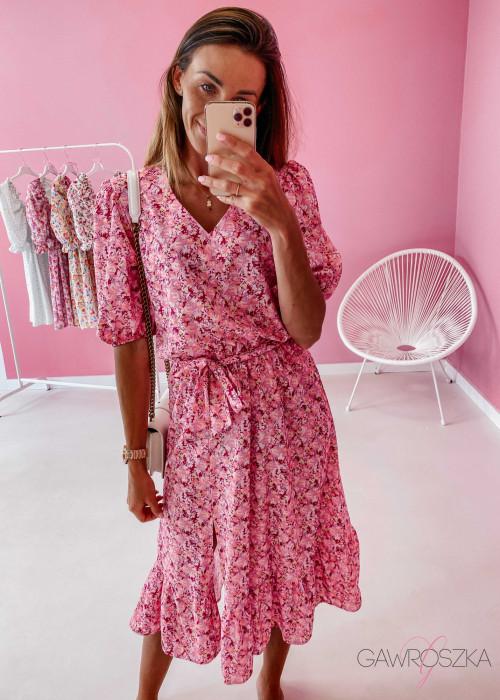 Sukienka Sara midi - różowa