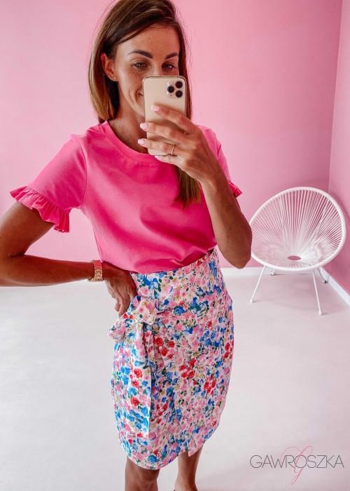 T-shirt z falbanką - różowy