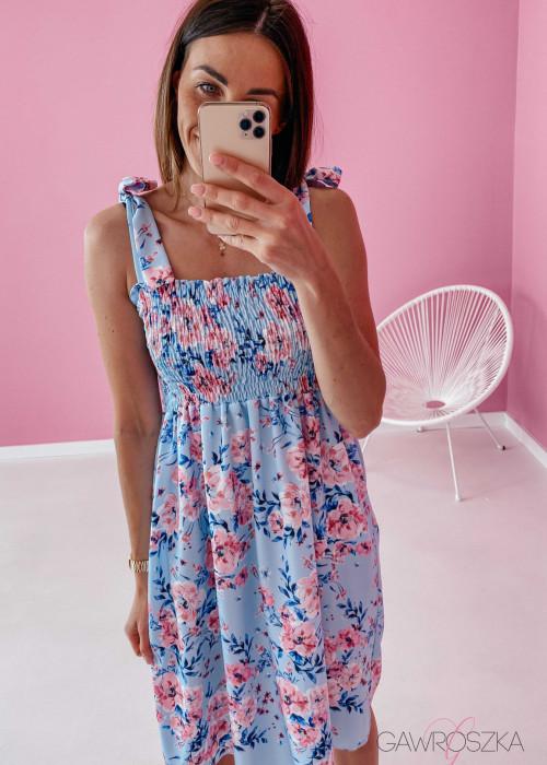 Sukienka z wiązaniem Lili - błękitna w kwiaty