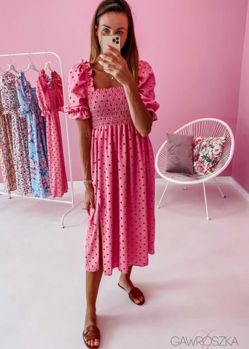 Sukienka Pola midi - różowa w groszki
