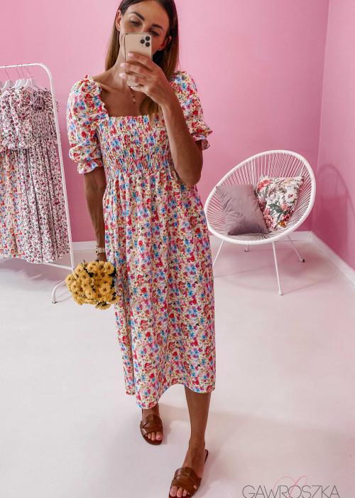 Sukienka Pola midi - kolorowe kwiatuszki