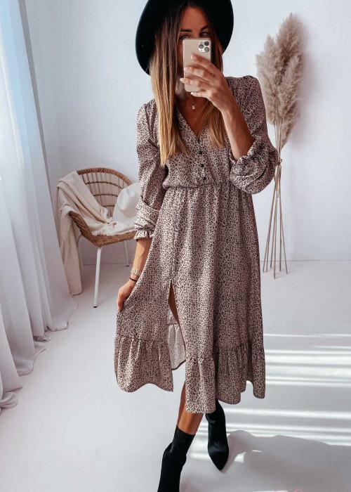 Sukienka Megi Midi Premium - beżowa w centki