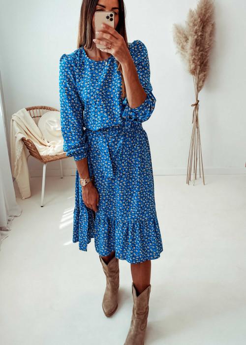 Sukienka Madeline - niebieska w kwiatuszki
