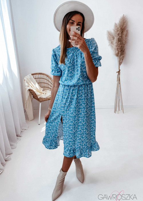 Sukienka Paula midi błękitna w białe kwiatuszki
