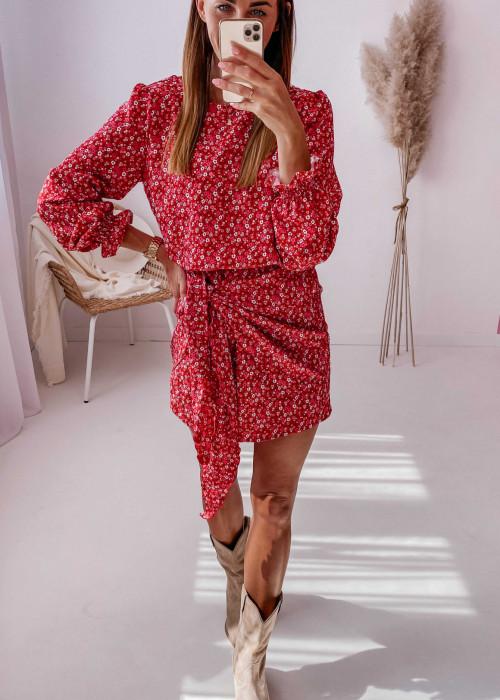 Sukienka z wiązaniem czerwona w drobne kwiatuszki
