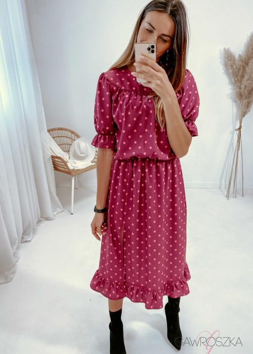 Sukienka Paula midi - bordowa w różowe groszki