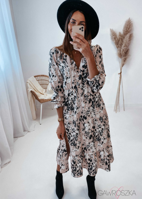 Sukienka Megi Midi Premium - kwiaty