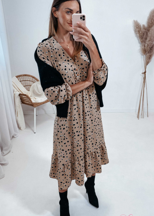 Sukienka Megi Midi Premium - beżowa w kamyczki