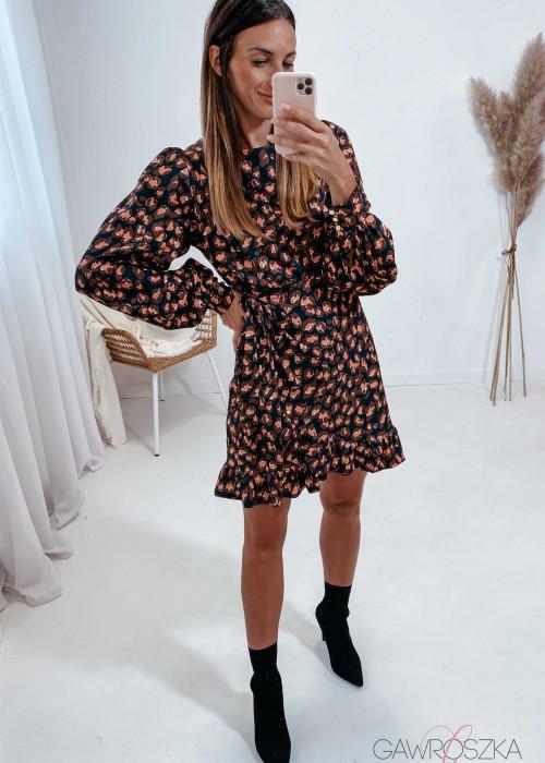 Sukienka Marbella - czarna w brązowo-różowe plamki