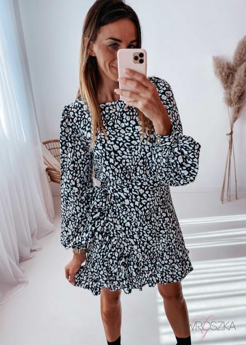 Sukienka Marbella - czarna w białą panterkę