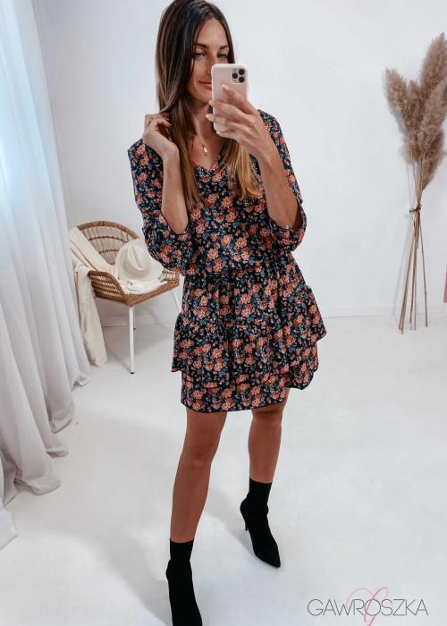 Sukienka Lena - czarna w jesienne kwiatuszki