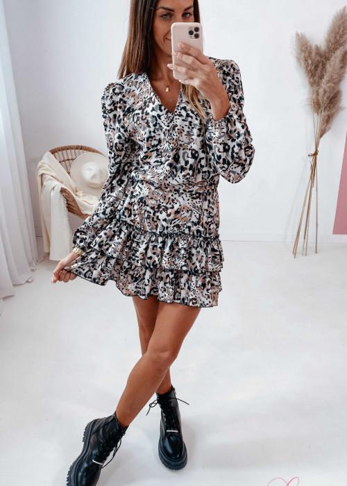 Sukienka z szarfą - beżowa w cętki