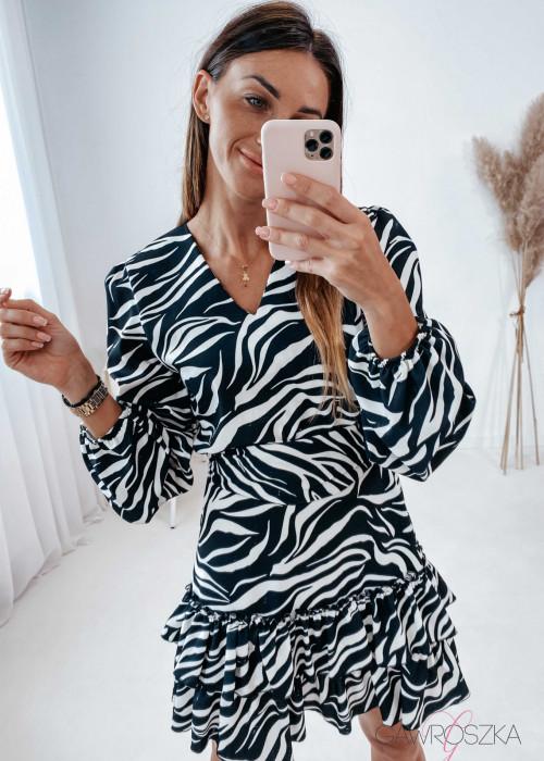 Sukienka z szarfą - zebra