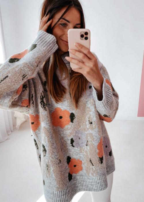 Sweter żakardowy w kwiaty - szary