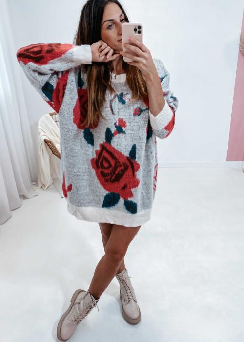 Sweter dłuższy w róże