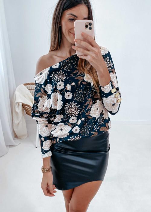 Sweterek czarny w beżowe kwiaty
