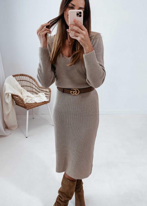 Sukienka sweterkowa midi - beż