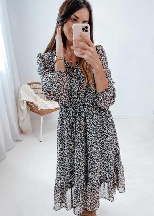 sukienka midi szyfonowa z regulacją pod biustem - beżowe kwiatuszki