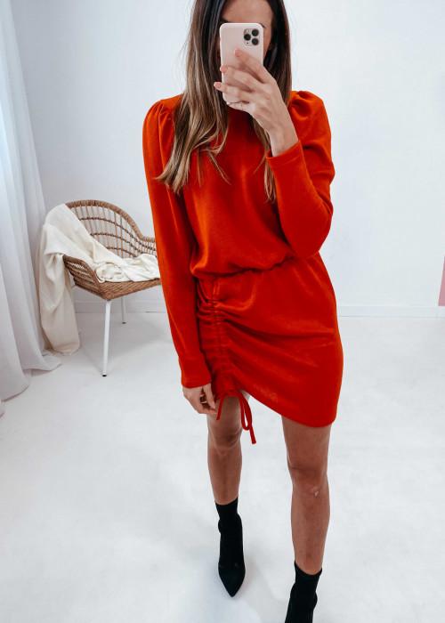 Sukienka sweterkowa z regulowaną długością - czerwona