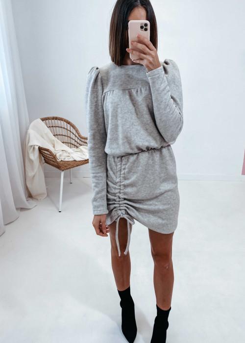 Sukienka sweterkowa z regulowaną długością - melanż