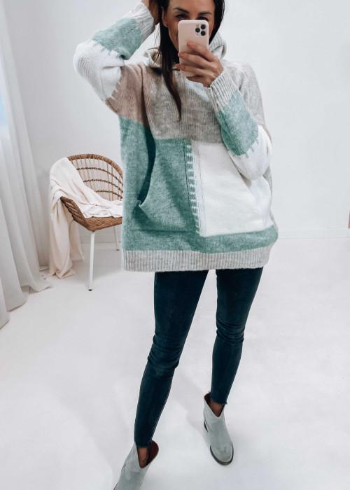 Bluza sweterkowa z kapturem - zielona