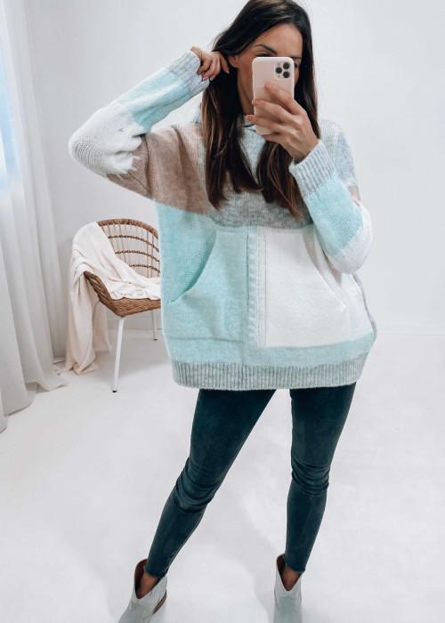 Bluza sweterkowa z kapturem - błękitna